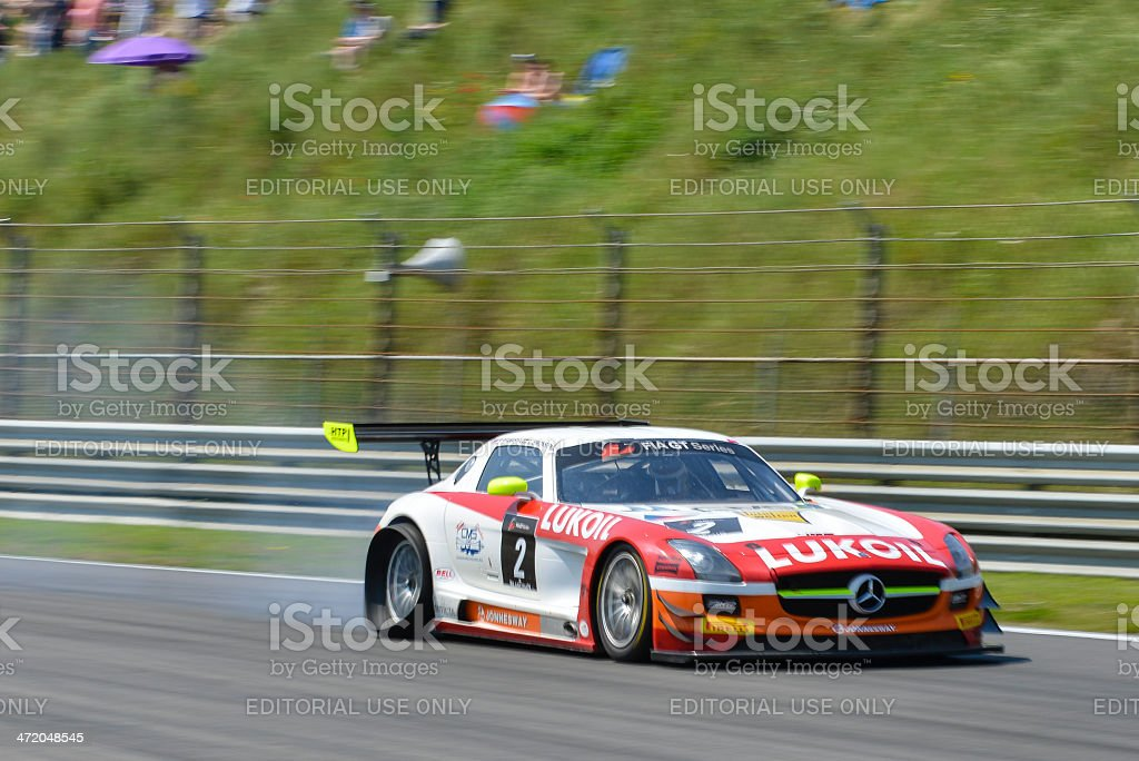 Mercedes Benz SLS rac car with a puncture stock photo