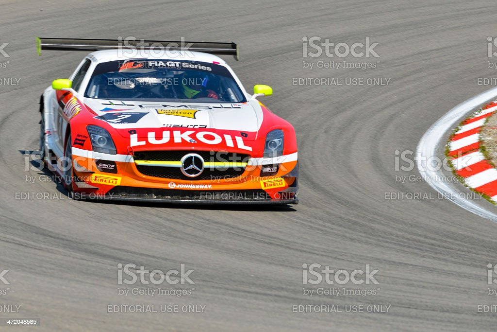 Mercedes Benz SLS race car at the racing track stock photo