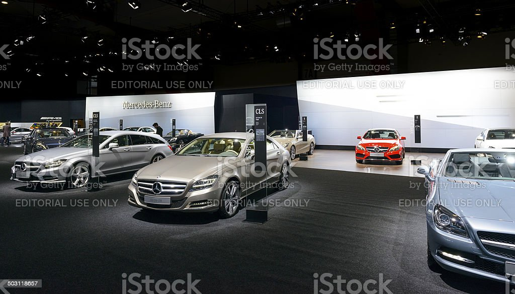Mercedes Benz stand stock photo