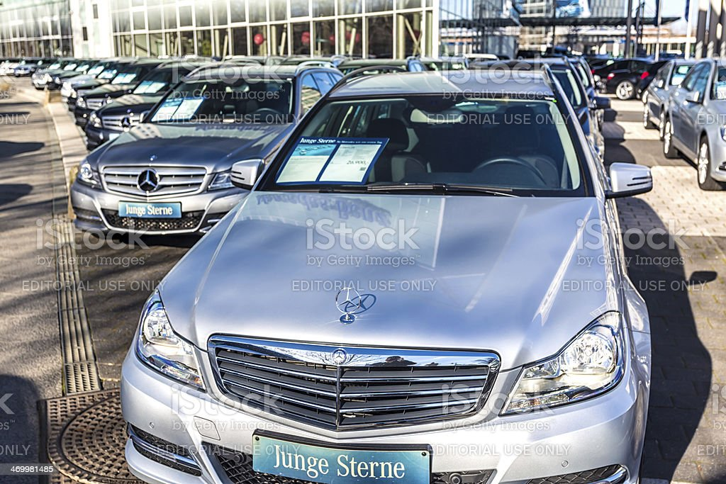 Mercedes Benz Vehicles in a row stock photo
