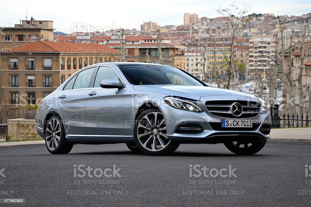 Mercedes C-Class stopped on the street stock photo