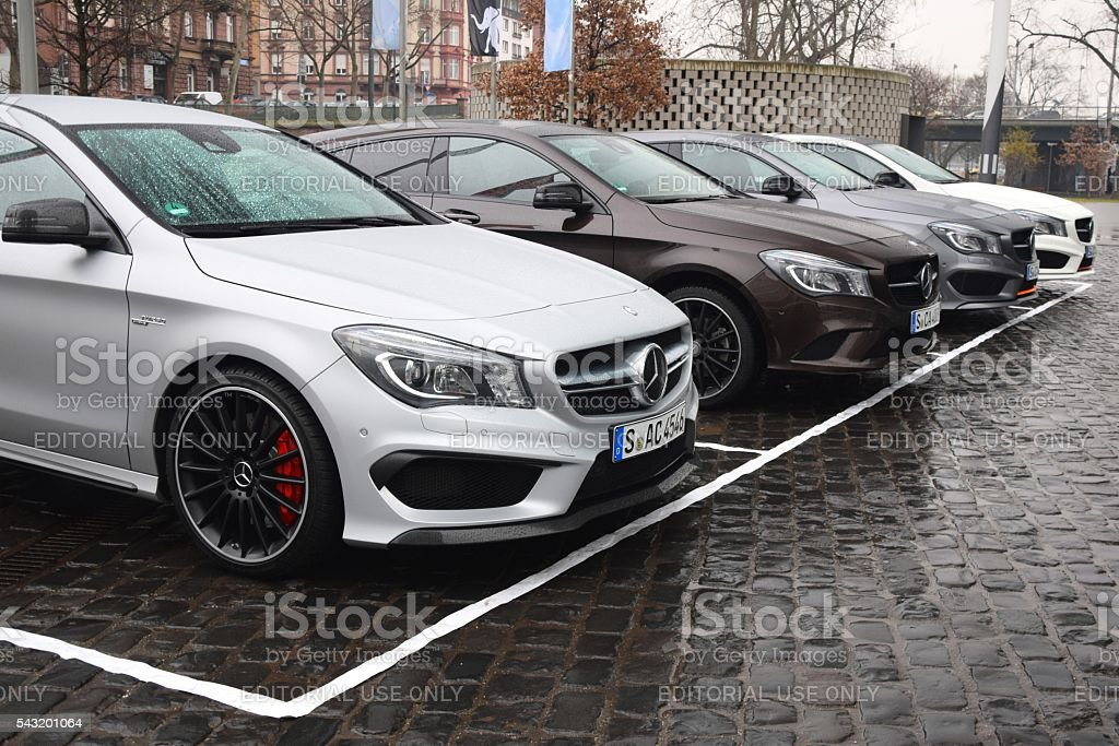 Mercedes CLA cars in a row stock photo