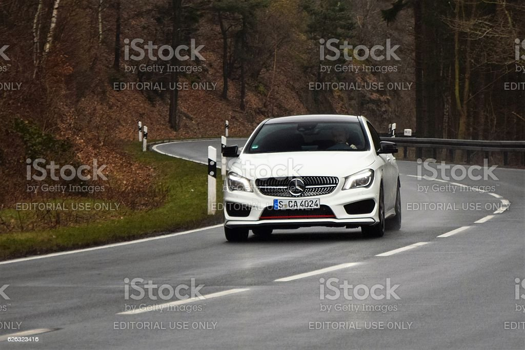 Mercedes CLA Shooting Brake in motion stock photo