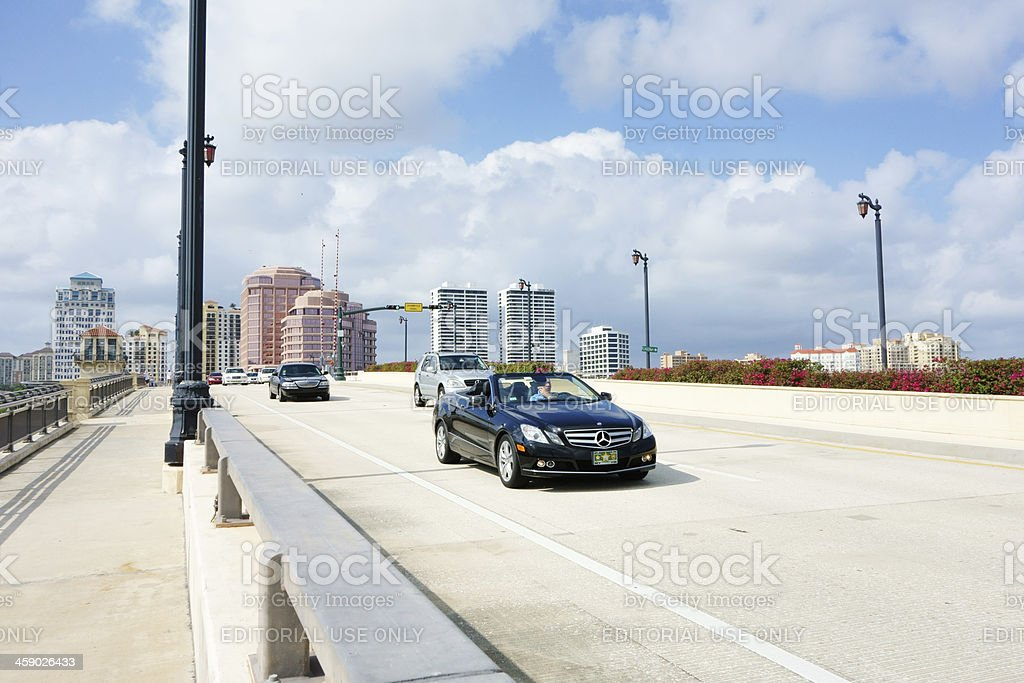 Mercedes convertible on bridge royalty-free stock photo