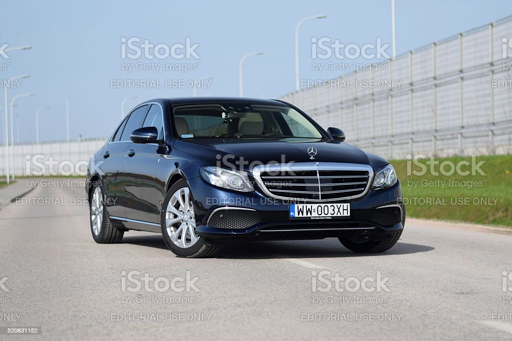 Mercedes E-Class stopped on the road stock photo
