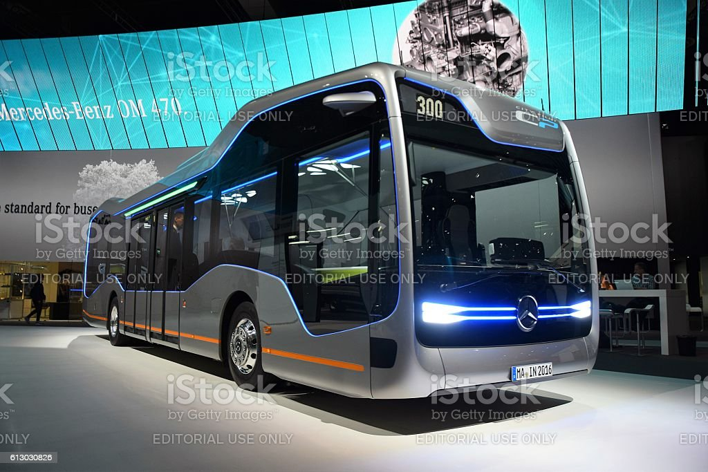 Mercedes Future Bus CityPilot on the exhibition stock photo