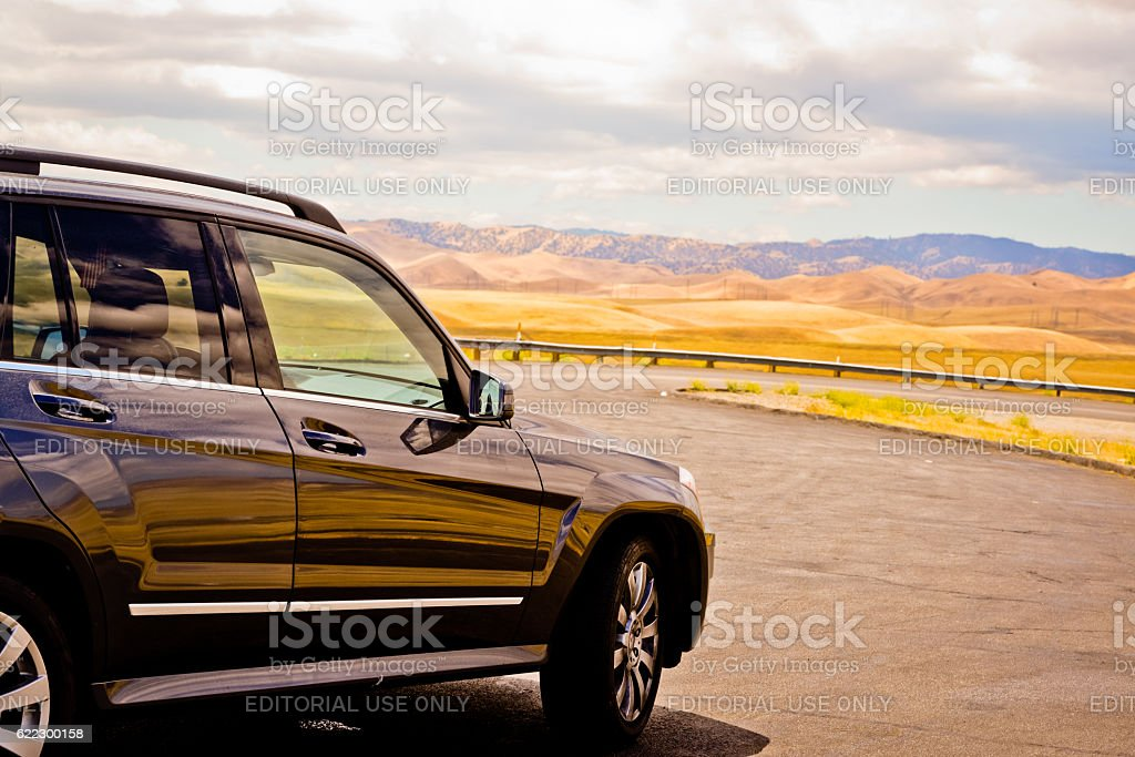 Mercedes GLK parked in Californian Desert stock photo