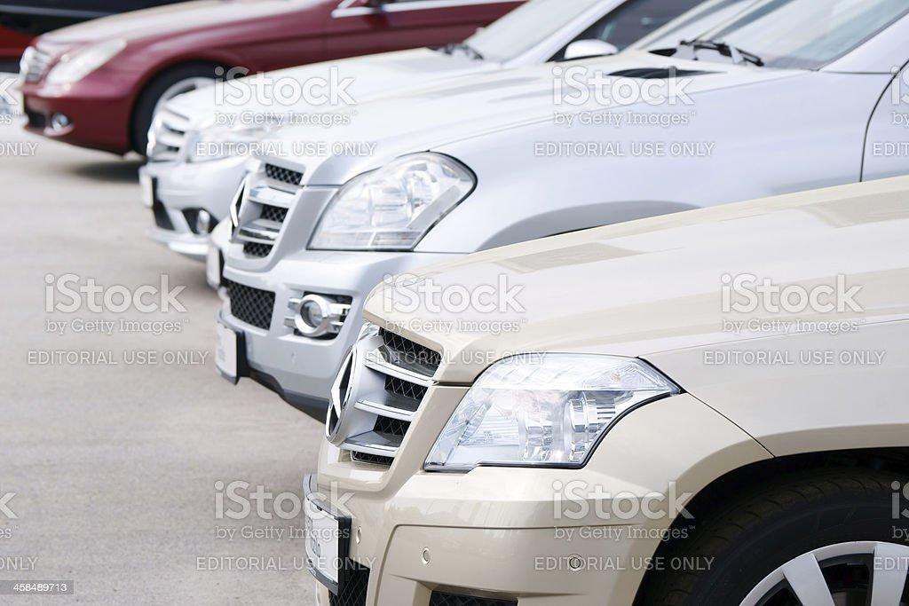 Mercedes vehicles at car dealership royalty-free stock photo
