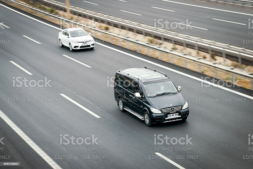 Mercedes Vito and Renault Fluence stock photo