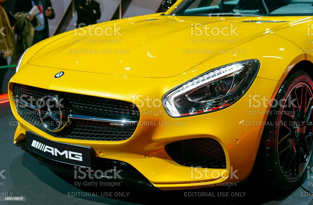 Mercedes-AMG GT coupe sports car front stock photo