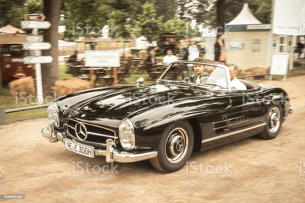 Mercedes-Benz 300SL Convertible driving fast stock photo