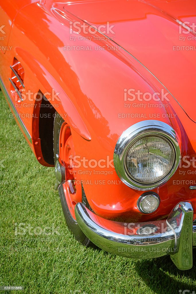 Mercedes-Benz 300SL Gullwing classic sports car front detail stock photo