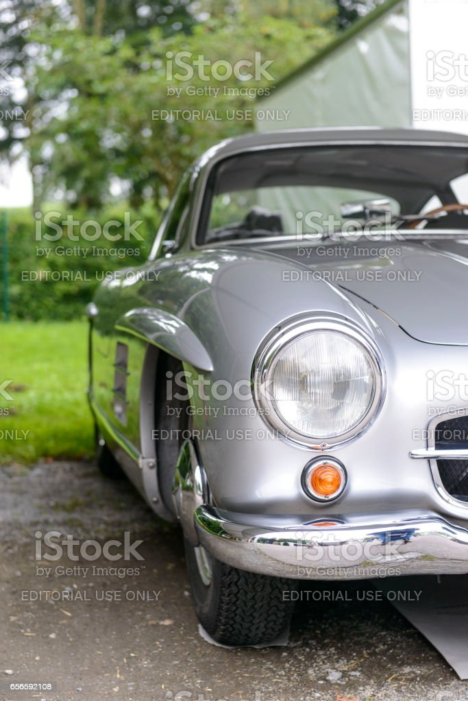 Mercedes-Benz 300SL Gullwing classic sports car front stock photo