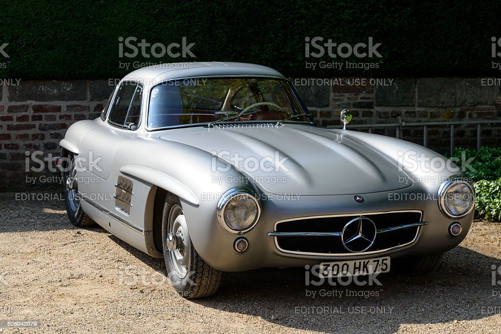 Mercedes-Benz 300SL Gullwing classic sports car front view stock photo