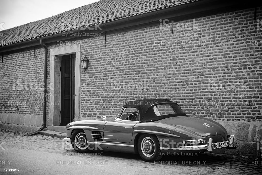 Mercedes-Benz 300SL Roadster classic sports car in black and white stock photo