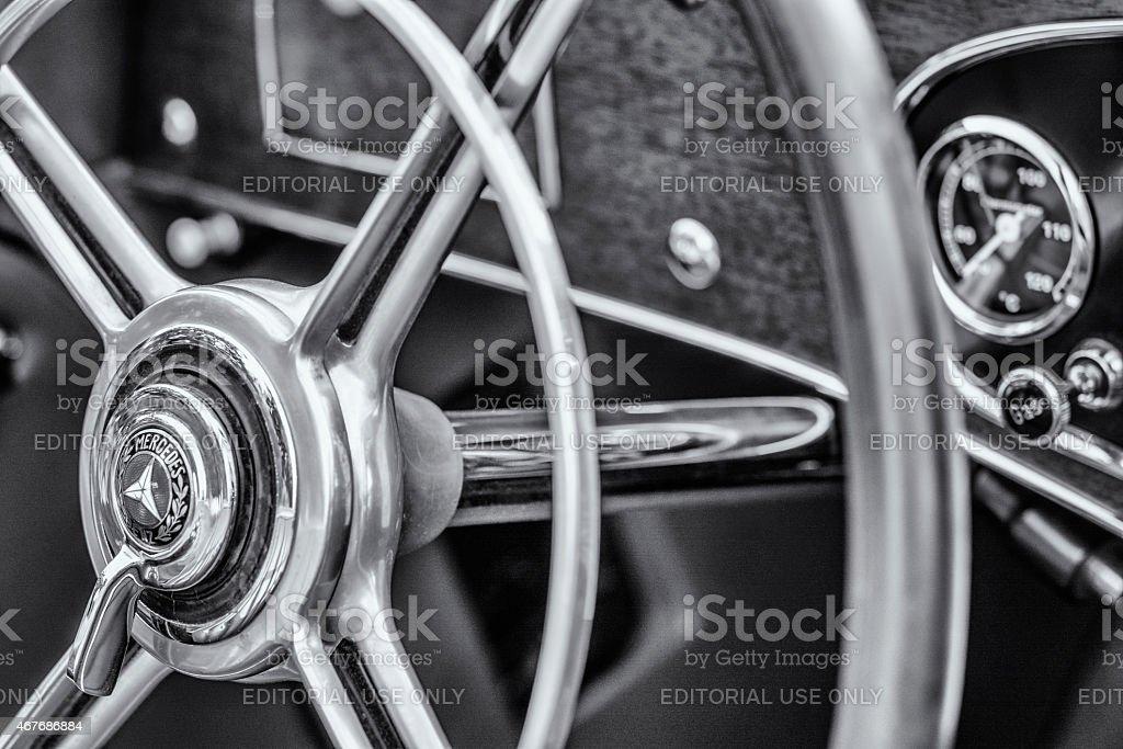 Mercedes-Benz 380K Roadster classic sports car steering wheel stock photo
