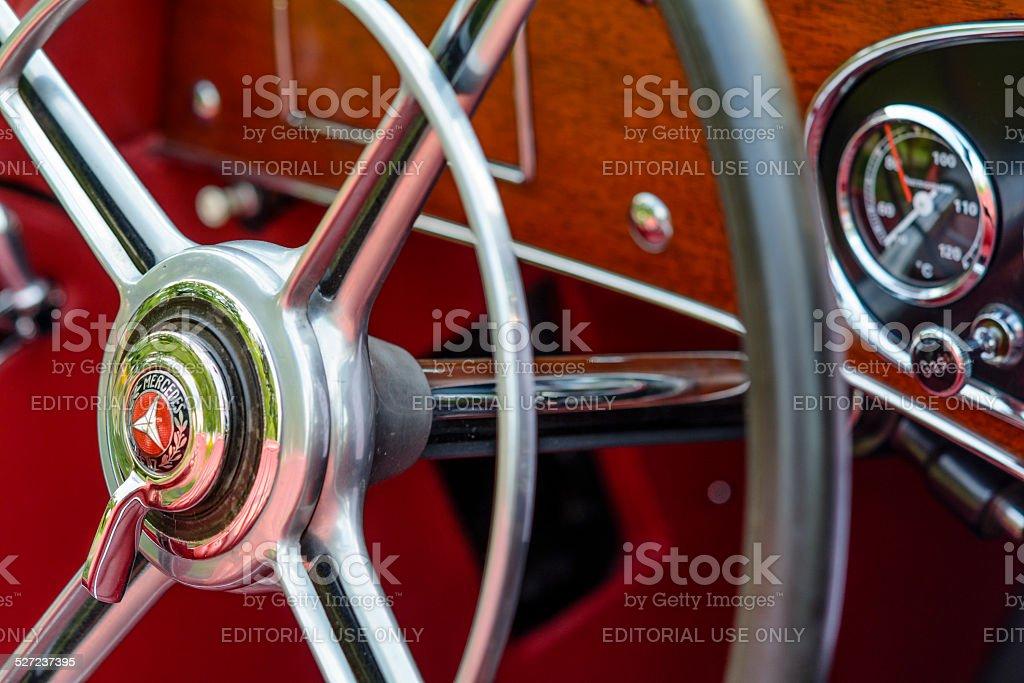 Mercedes-Benz 380K Roadster steering wheel stock photo