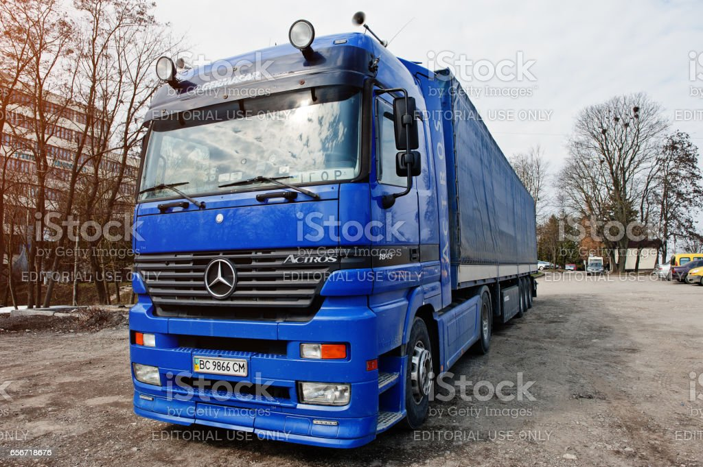 Kiev, Ukraine - March 22, 2017: Mercedes-Benz Actros, heavy duty truck introduced by Mercedes-Benz in 1995. stock photo