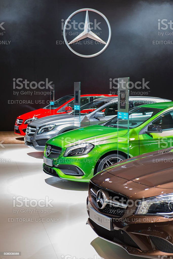 Mercedes-Benz CLA, A-class and B-class luxury cars stock photo