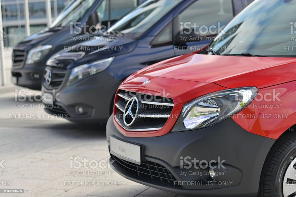 Mercedes-Benz LCV vehicles in a row stock photo