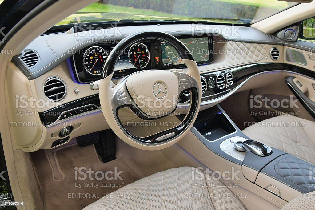 Mercedes-Benz Maybach S600 interior stock photo
