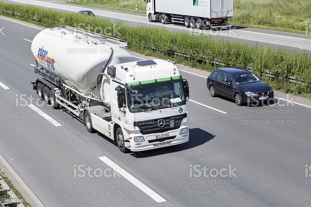 Mercedes-Benz silo truck on German highway royalty-free stock photo