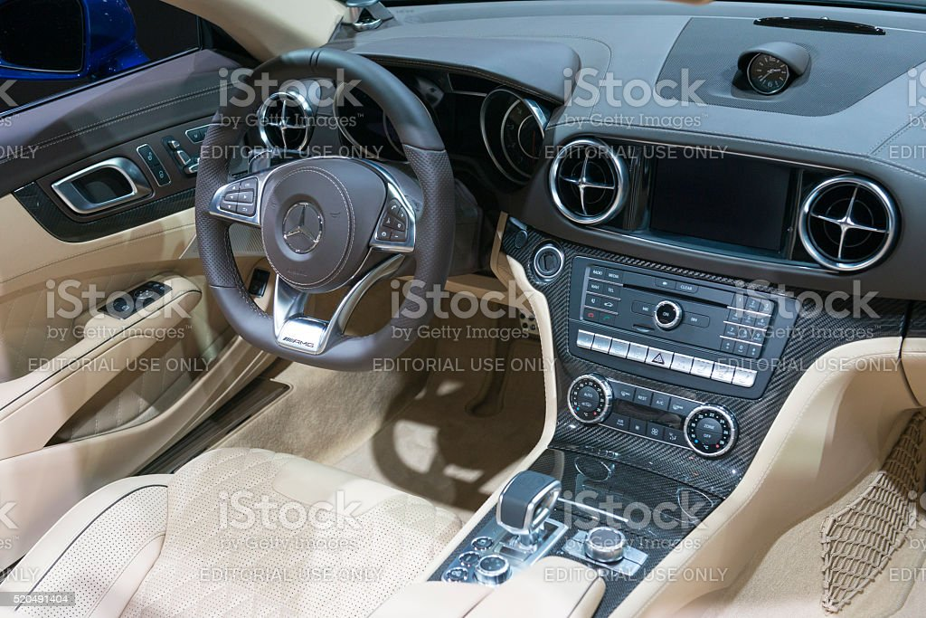 Mercedes-Benz SL convertible sports car interior stock photo