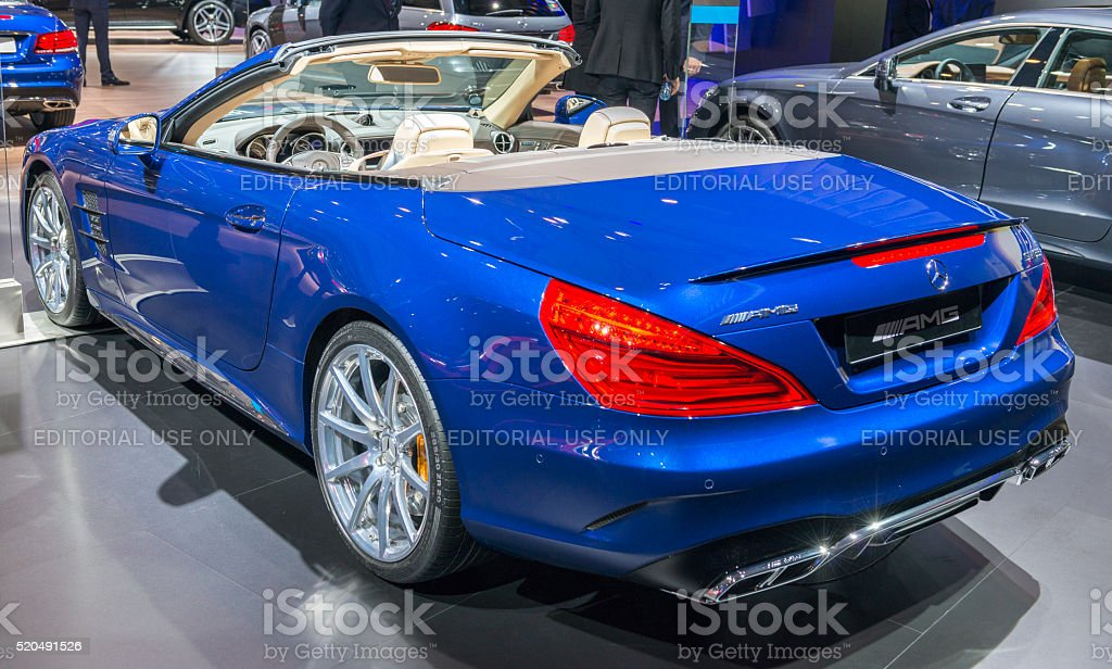 Mercedes-Benz SL convertible sports car stock photo