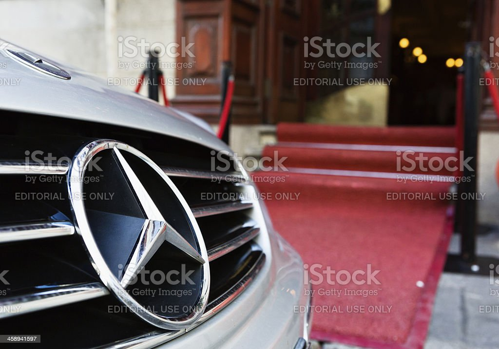 Mercedes-Benz sports car outside upmarket restaurant in Cape Town royalty-free stock photo
