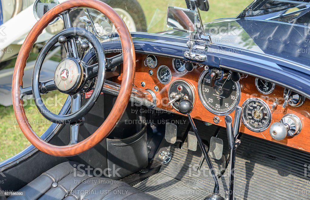 Mercedes-Benz SSK Sport convertible classic 1920s car interior stock photo