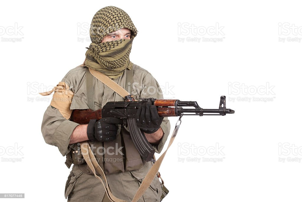 mercenary with AK 47 gun stock photo