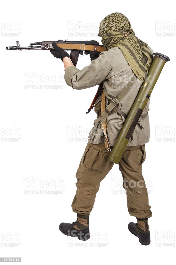 mercenary with AK 47 stock photo