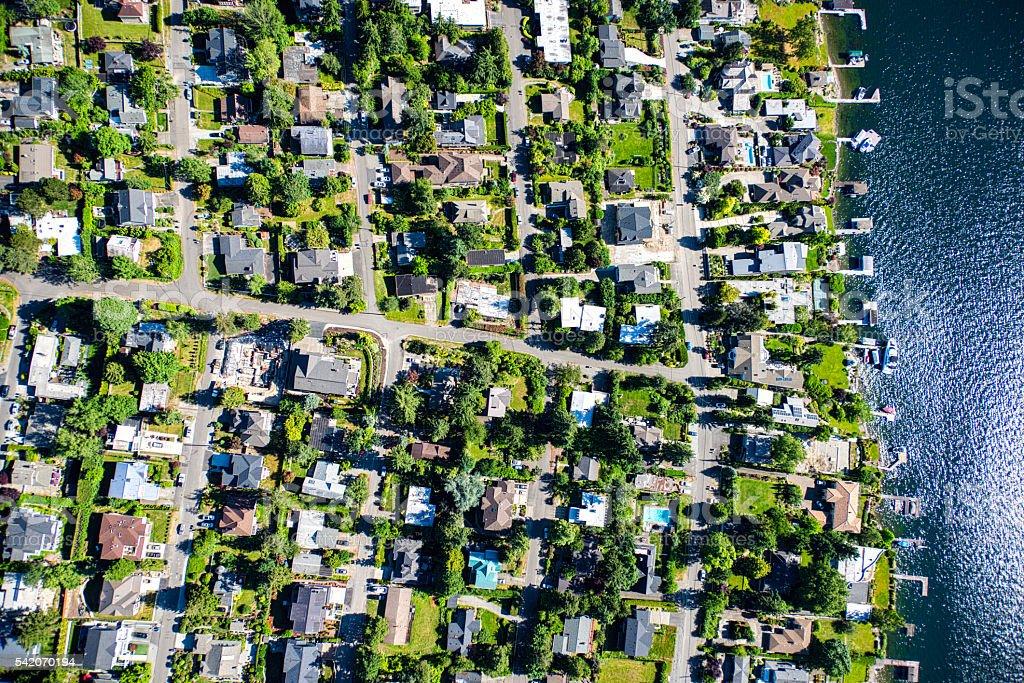 Mercer Island Community Aerial View stock photo