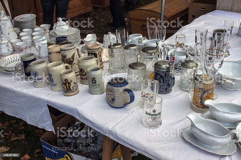 Merchandise exposed at the flea marke royalty-free stock photo