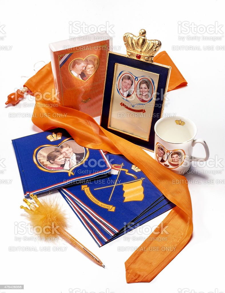 Merchandise marriage of king Willem Alexander and Maxima stock photo