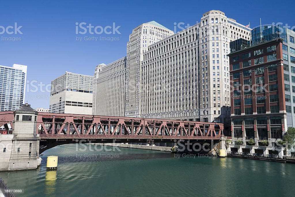 Merchandise Mart on Chicago River stock photo