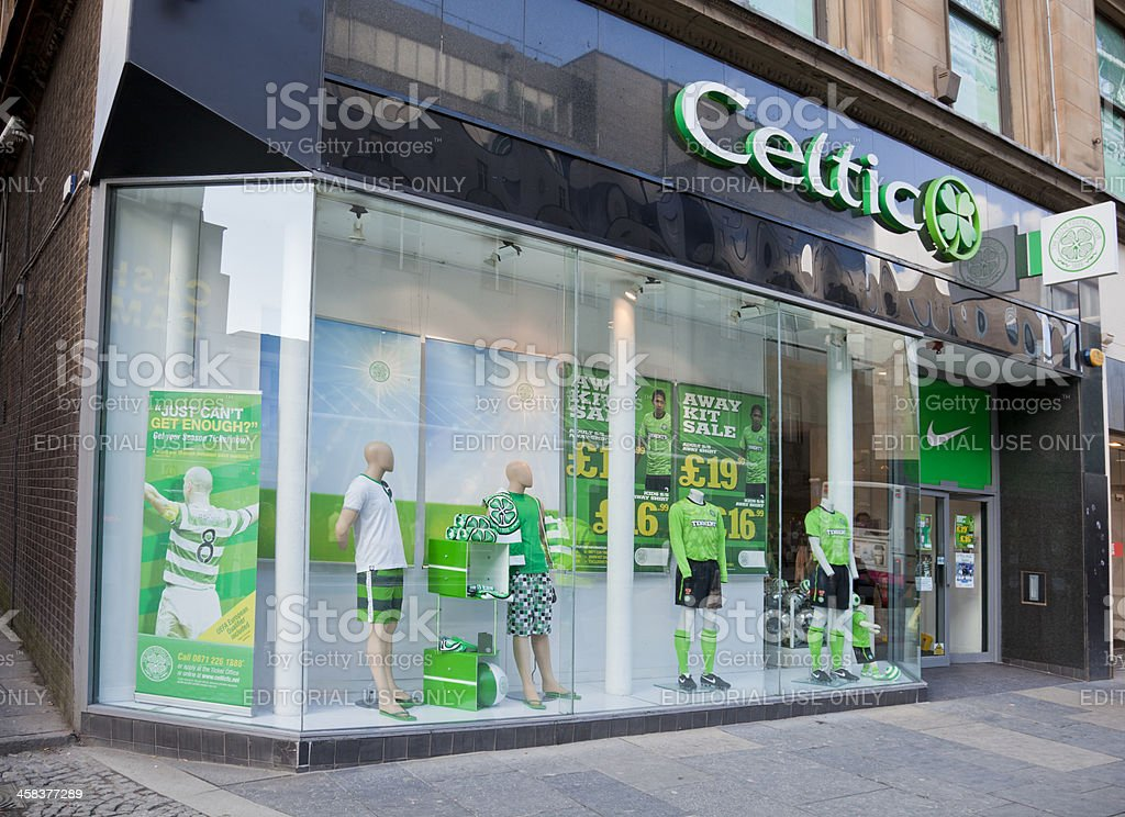 Merchandising shop for Celtic Football Club, Glasgow royalty-free stock photo