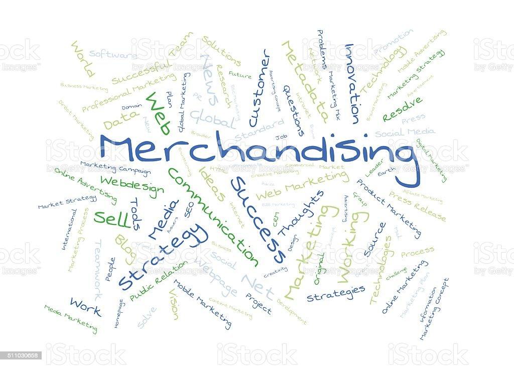 Merchandising word cloud stock photo