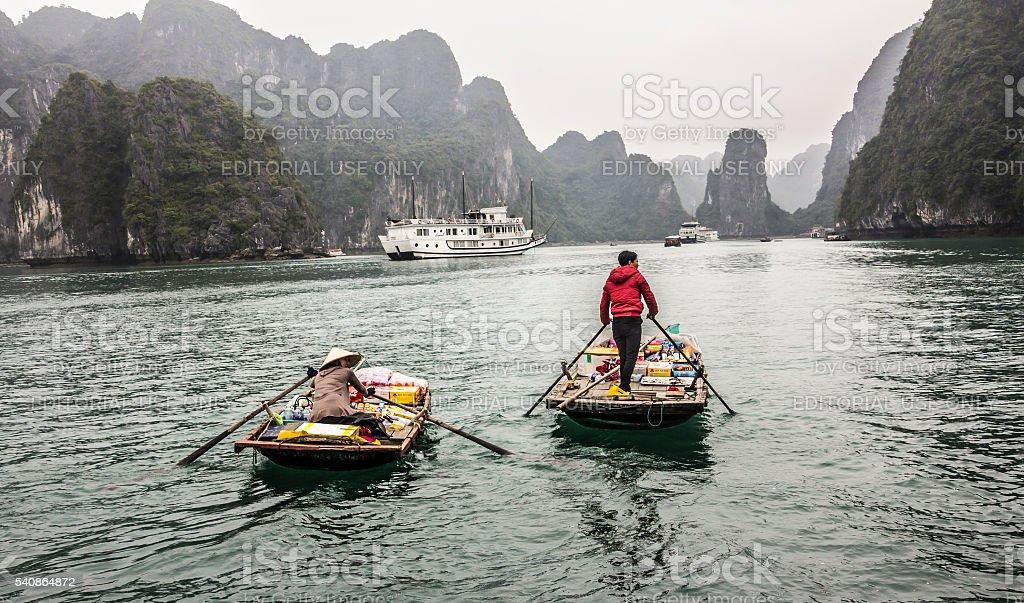 merchant boat at Halong bay stock photo