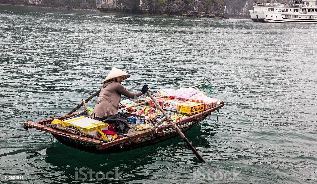 merchant boats at Halong bay stock photo