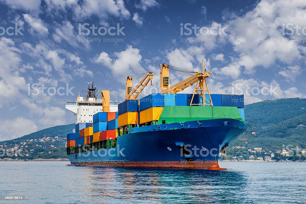 merchant container ship stock photo