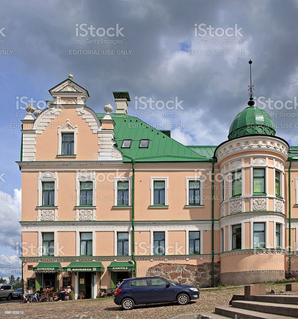 Merchant's house in Vyborg, Russia stock photo