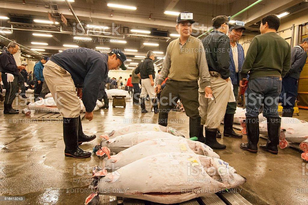 Merchants preparing for the tuna auction stock photo