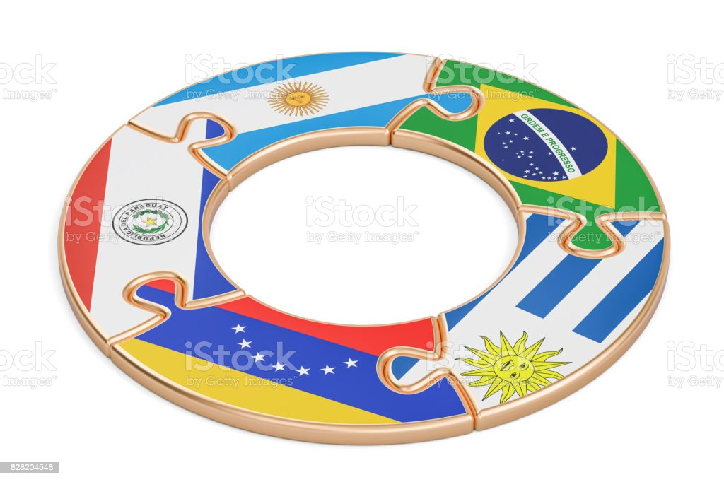 Mercosur concept, 3D rendering isolated on white background stock photo