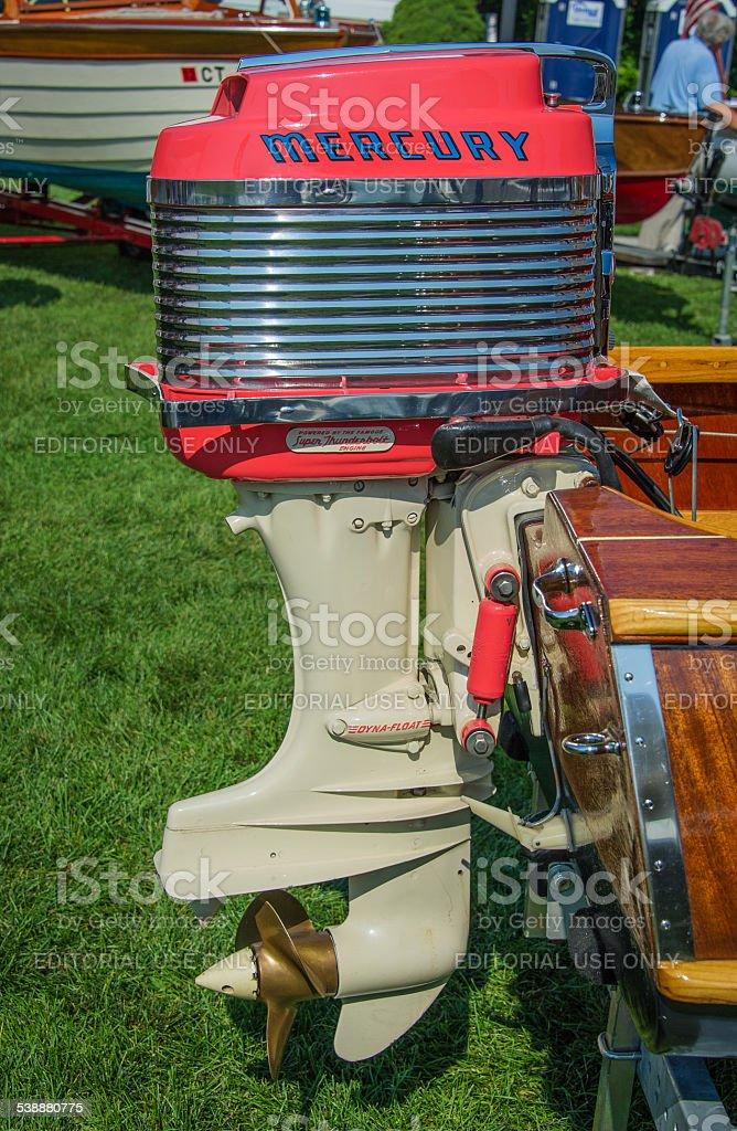 Mercury 1959 Super Thunderbolt Outboard Motor at Boat Show stock photo