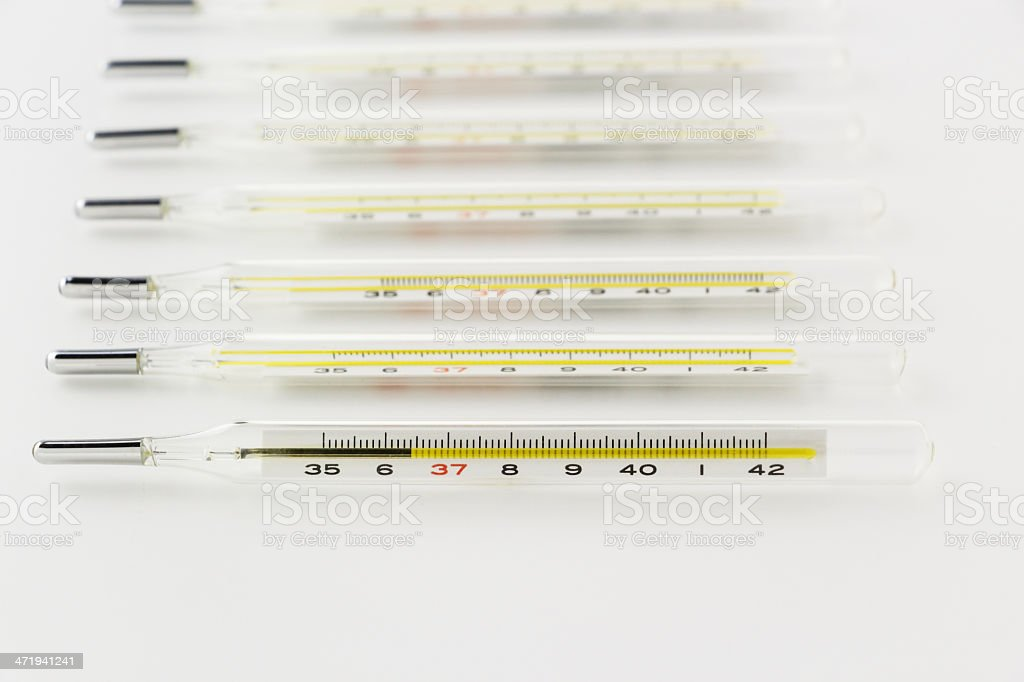 mercury clinical thermometer stock photo