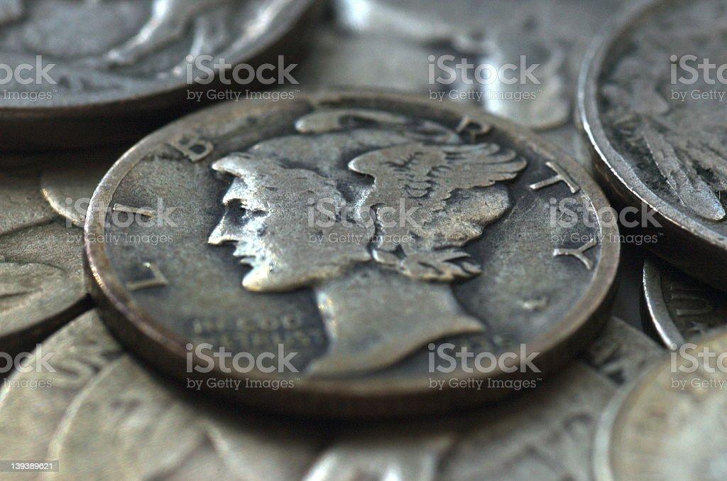 Mercury coin U.S. 1935 stock photo