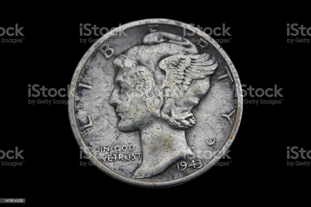 Mercury Dime 1943 royalty-free stock photo