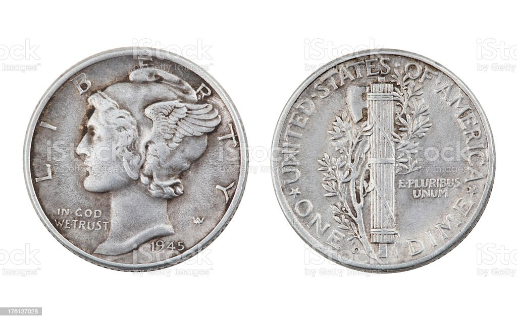 Mercury Dime royalty-free stock photo