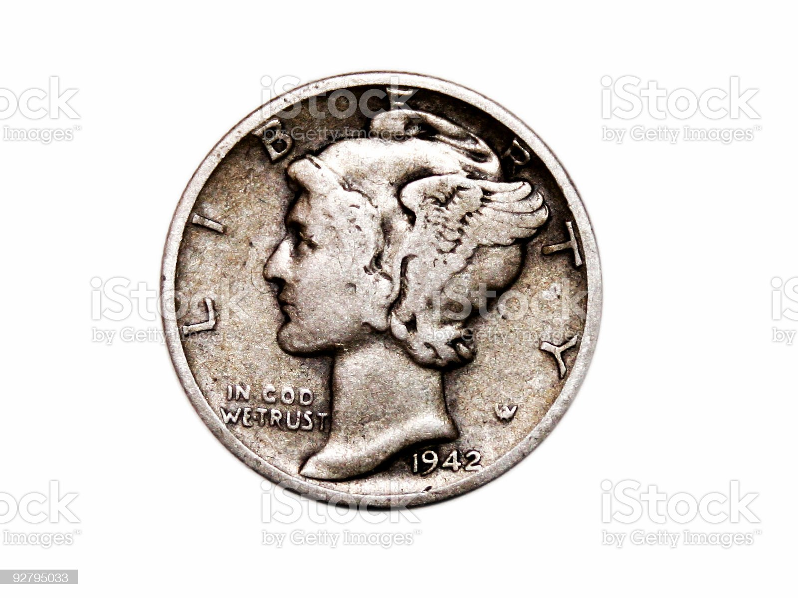 U.S. Mercury Dime royalty-free stock photo